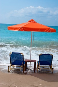 beach chairs in the surf at Topsail Beach