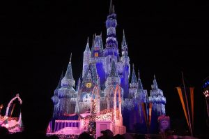 Cinderella's Castle shimmers like an ice castle